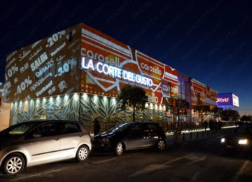 Projections on big malls to advertise the sales