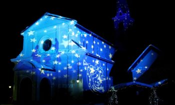 Christmas decorative projections on religious buildings