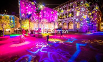 Christmas themed projections with stars texture- Como Magic Light Festival